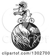 Clipart Of A Black And White Woodcut Jesus Christ Riding A Bicycle On Earth Royalty Free Vector Illustration by xunantunich