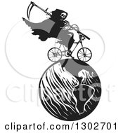 Clipart Of A Black And White Woodcut Grim Reaper Riding A Bicycle On Earth Royalty Free Vector Illustration by xunantunich