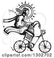 Clipart Of A Black And White Woodcut Jesus Christ Riding A Bicycle Royalty Free Vector Illustration by xunantunich