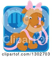 Clipart Of A Virgo Astrology Zodiac Puppy Dog With A Pink Bow And Ribbon Icon Royalty Free Vector Illustration