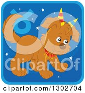 Clipart Of A Taurus Astrology Zodiac Puppy Dog Wearing Two Party Hats Like Horns Icon Royalty Free Vector Illustration