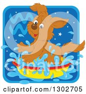 Clipart Of A Playful Splashing Aquarius Astrology Zodiac Puppy Dog Icon Royalty Free Vector Illustration by Alex Bannykh