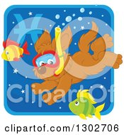 Clipart Of A Swimming Snorkeling Pisces Astrology Zodiac Puppy Dog Icon Royalty Free Vector Illustration