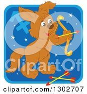 Clipart Of A Sagitarius Archer Astrology Zodiac Puppy Dog Icon Royalty Free Vector Illustration