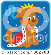 Clipart Of A King Leo Astrology Zodiac Puppy Dog Icon Royalty Free Vector Illustration