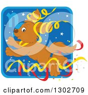Clipart Of A Jumping Capricorn Astrology Zodiac Puppy Dog With Ribbons Icon Royalty Free Vector Illustration
