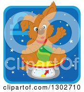 Clipart Of A Libra Astrology Zodiac Puppy Dog Sitting On A Scale Icon Royalty Free Vector Illustration