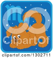 Clipart Of A Scorpio Astrology Zodiac Puppy Dog Icon Royalty Free Vector Illustration