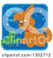 Clipart Of A Cancer Astrology Zodiac Puppy Dog With A Crab Or Crawdad Icon Royalty Free Vector Illustration