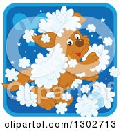 Clipart Of A Playful Fluffy Aries Astrology Zodiac Puppy Dog Icon Royalty Free Vector Illustration