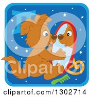 Clipart Of A Gemini Astrology Zodiac Puppy Dog Looking In A Mirror Icon Royalty Free Vector Illustration