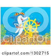 Clipart Of A Crab And Pirate Shark At A Sunken Ship Helm At The Bottom Of The Sea Royalty Free Illustration