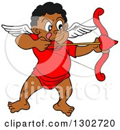 Cartoon Black Cupid Aiming His Arrow