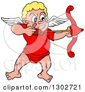 Cartoon Blond White Cupid Aiming His Arrow