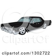 Clipart Of A Black Classic 1969 Cadillac Continental Car Royalty Free Vector Illustration