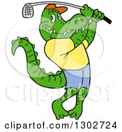 Clipart Of A Cartoon Alligator Wearing Clothes And Swinging A Golf Club Royalty Free Vector Illustration by LaffToon