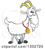 Clipart Of A Cartoon White Goat With A Weird Facial Expression Royalty Free Vector Illustration by LaffToon