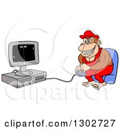 Cartoon Monkey Gamer In Red Overalls Sitting In A Chair And Playing On A Computer