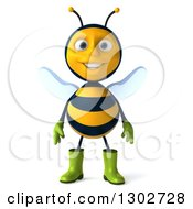 Clipart Of A 3d Happy Gardener Bee Royalty Free Illustration