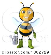 Clipart Of A 3d Happy Gardener Bee Holding A Watering Can Royalty Free Illustration