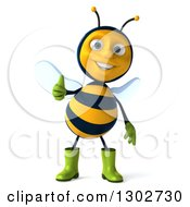 Clipart Of A 3d Happy Gardener Bee Giving A Thumb Up Royalty Free Illustration
