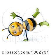Clipart Of A 3d Happy Gardener Bee Cartwheeling Royalty Free Illustration