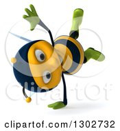 Clipart Of A 3d Happy Gardener Bee Facing Right And Cartwheeling Royalty Free Illustration