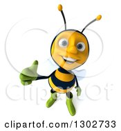 Clipart Of A 3d Happy Gardener Bee Holding Up A Thumb Royalty Free Illustration