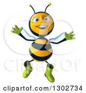 Clipart Of A 3d Happy Gardener Bee Jumping Royalty Free Illustration