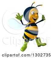 Clipart Of A 3d Happy Gardener Bee Facing Right And Jumping Royalty Free Illustration
