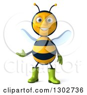 Clipart Of A 3d Happy Gardener Bee Presenting Royalty Free Illustration