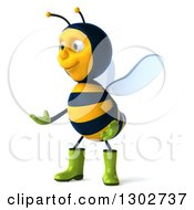 Clipart Of A 3d Happy Gardener Bee Facing Left And Presenting Royalty Free Illustration