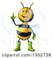 Clipart Of A 3d Happy Gardener Bee With An Idea Royalty Free Illustration