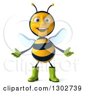 Clipart Of A 3d Happy Gardener Bee Welcoming Royalty Free Illustration
