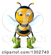 Clipart Of A 3d Sad Gardener Bee Pouting Royalty Free Illustration