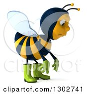 Clipart Of A 3d Sad Gardener Bee Facing Right And Pouting Royalty Free Illustration