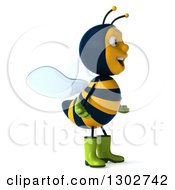Clipart Of A 3d Happy Gardener Bee Facing Right Royalty Free Illustration
