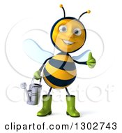 Clipart Of A 3d Happy Gardener Bee Holding A Watering Can And Giving A Thumb Up Royalty Free Illustration