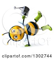Clipart Of A 3d Happy Gardener Bee Holding A Watering Can And Cartwheeling Royalty Free Illustration