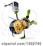 Clipart Of A 3d Happy Gardener Bee Holding A Watering Can Facing Right And Cartwheeling Royalty Free Illustration