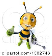 Clipart Of A 3d Happy Gardener Bee Holding A Watering Can And Holding Up A Thumb Royalty Free Illustration