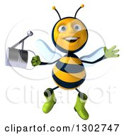 Clipart Of A 3d Happy Gardener Bee Holding A Watering Can And Jumping Royalty Free Illustration