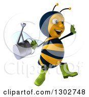 Clipart Of A 3d Happy Gardener Bee Holding A Watering Can Facing Right And Jumping Royalty Free Illustration