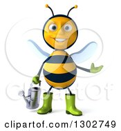 Clipart Of A 3d Happy Gardener Bee Holding A Watering Can And Presenting Royalty Free Illustration