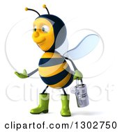 Clipart Of A 3d Happy Gardener Bee Holding A Watering Can Facing Left And Presenting Royalty Free Illustration