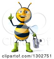 Clipart Of A 3d Happy Gardener Bee With An Idea Holding A Watering Can Royalty Free Illustration
