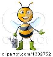 Clipart Of A 3d Happy Gardener Bee Presenting And Holding A Watering Can Royalty Free Illustration