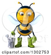 Clipart Of A 3d Sad Gardener Bee Holding A Watering Can And Pouting Royalty Free Illustration