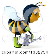 Clipart Of A 3d Sad Gardener Bee Holding A Watering Can Facing Right And Pouting Royalty Free Illustration