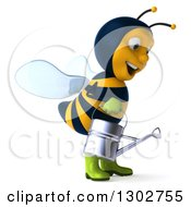 Clipart Of A 3d Happy Gardener Bee Facing Right And Using A Watering Can Royalty Free Illustration